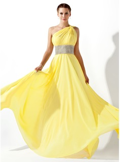 Empire One-Shoulder Floor-Length Chiffon Prom Dress With Ruffle Beading (018020583)