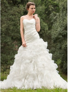 A-Line/Princess Sweetheart Chapel Train Organza Charmeuse Wedding Dress With Ruffle Beading Sequins Cascading Ruffles