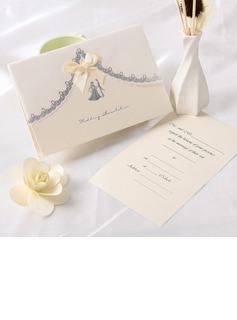 Bride & Groom Style Top Fold Invitation Cards With Ribbons (set of 50)