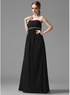 Empire Sweetheart Floor-Length Chiffon Maternity Bridesmaid Dresses With Ruffle Beading