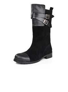 Suede Low Heel Mid-Calf Boots With Buckle shoes