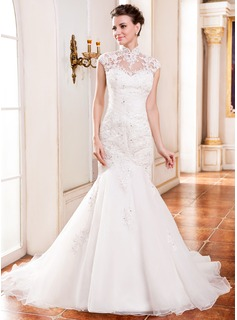 Trumpet/Mermaid High Neck Cathedral Train Organza Wedding Dress With Lace Beading Sequins