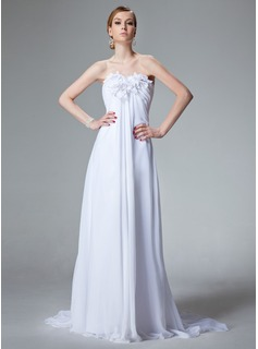 Empire Sweetheart Court Train Chiffon Wedding Dress With Ruffle Beadwork Flower(s)