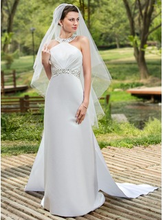 A-Line/Princess Halter Watteau Train Satin Wedding Dress With Ruffle Beadwork Sequins