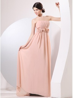 A-Line/Princess Strapless Sweep Train Chiffon Evening Dress With Ruffle Flower(s)