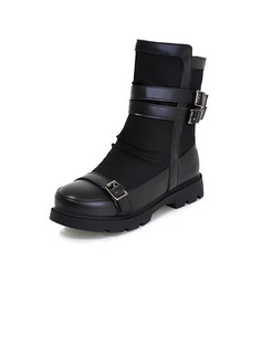 Leatherette Flat Heel Ankle Boots With Buckle shoes