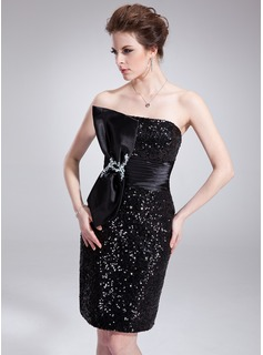 Sheath/Column Strapless Knee-Length Charmeuse Sequined Cocktail Dress With Ruffle Beading Bow(s)