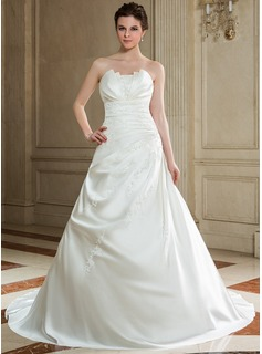 A-Line/Princess Scalloped Neck Chapel Train Satin Wedding Dress With Ruffle Beadwork Sequins