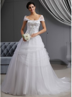 Ball-Gown Off-the-Shoulder Cathedral Train Satin Tulle Wedding Dress With Embroidery Ruffle Beadwork