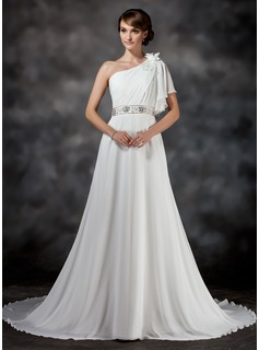 A-Line/Princess One-Shoulder Chapel Train Chiffon Wedding Dress With Ruffle Beading Flower(s)
