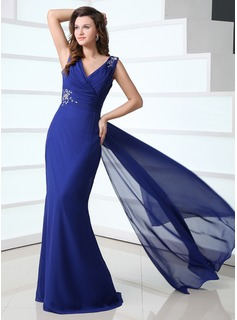 Sheath V-neck Watteau Train Chiffon Mother of the Bride Dress With Ruffle Beading