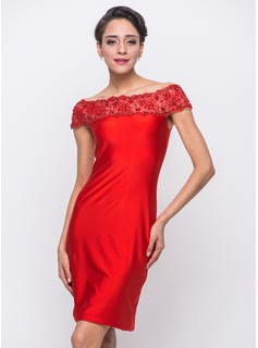 Sheath/Column Off-the-Shoulder Knee-Length Jersey Cocktail Dress With Lace Beading Sequins