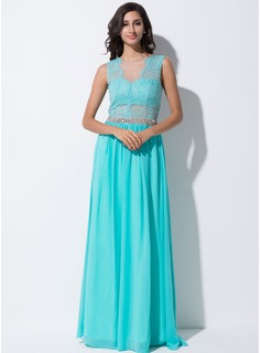 A-Line/Princess Scoop Neck Floor-Length Chiffon Tulle Evening Dress With Lace Beading Sequins