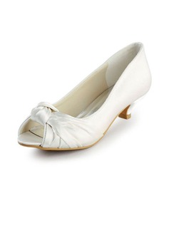 Satin Low Heel Peep Toe Flats Wedding Shoes With Bowknot (047016504)