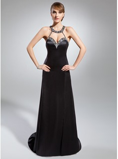 Sheath/Column Sweetheart Court Train Charmeuse Evening Dress With Beading Split Front