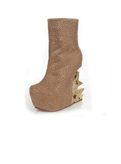 Suede Wedge Heel Wedges Ankle Boots With Crystal shoes (088040917)