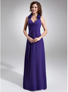 A-Line/Princess Halter Floor-Length Chiffon Bridesmaid Dress With Ruffle Flower(s)