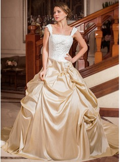 Ball-Gown Strapless Square Neckline Chapel Train Taffeta Wedding Dress With Ruffle Lace Beadwork (002012029)