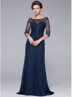 A-Line/Princess Scoop Neck Sweep Train Chiffon Tulle Mother of the Bride Dress With Beading
