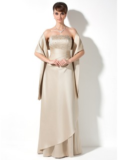 A-Line/Princess Strapless Floor-Length Satin Bridesmaid Dress With Ruffle Beading (007000982)