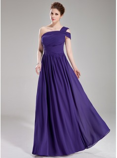 A-Line/Princess One-Shoulder Floor-Length Chiffon Evening Dress With Ruffle (017039546)