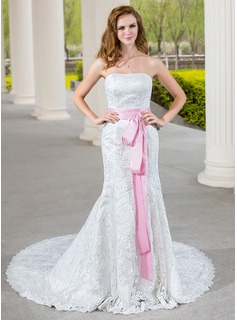 Mermaid Sweetheart Chapel Train Taffeta Lace Wedding Dress With Sash