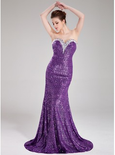 Mermaid Sweetheart Sweep Train Sequined Prom Dress With Beading