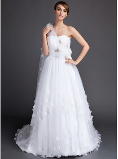 A-Line/Princess One-Shoulder Watteau Train Tulle Wedding Dress With Ruffle Flower(s)