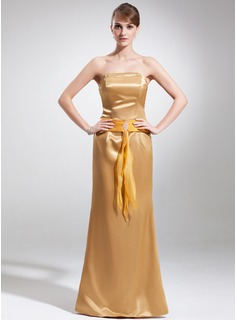 Sheath/Column Strapless Floor-Length Organza Charmeuse Mother of the Bride Dress With Ruffle Beading
