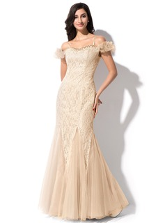 Trumpet/Mermaid Off-the-Shoulder Floor-Length Tulle Charmeuse Lace Evening Dress With Beading Sequins
