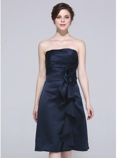 Sheath Strapless Knee-Length Satin Bridesmaid Dress With Ruffle Flower(s)