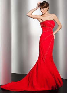 Mermaid Sweetheart Court Train Chiffon Evening Dress With Beading (017014550)