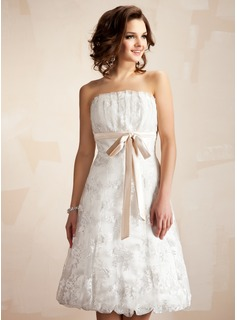 A-Line/Princess Scalloped Neck Knee-Length Satin Lace Wedding Dress With Ruffle Sashes (002011527)