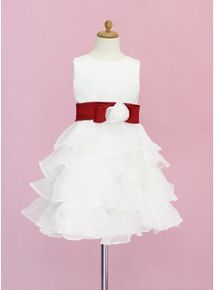 A-Line/Princess Scoop Neck Knee-Length Organza Satin Flower Girl Dress With Sash Flower(s)