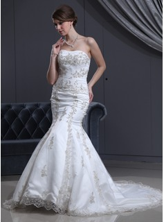 Trumpet/Mermaid Sweetheart Court Train Satin Tulle Wedding Dress With Beading Appliques Lace