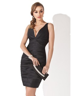 Sheath V-neck Short/Mini Satin Little Black Dress With Ruffle