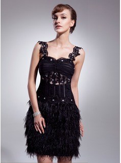 A-Line/Princess Sweetheart Knee-Length Tulle Feather Cocktail Dress With Ruffle Lace Beading (016008540)
