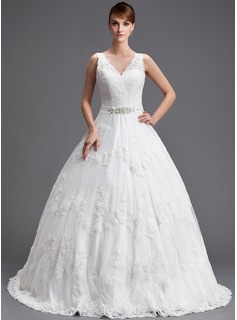 Ball-Gown V-neck Chapel Train Satin Lace Wedding Dress With Beading Sequins