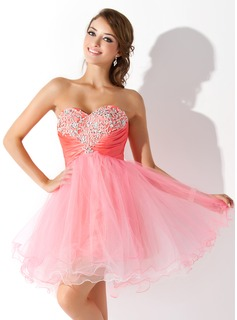 Empire Sweetheart Short/Mini Taffeta Tulle Homecoming Dress With Ruffle Beading Sequins