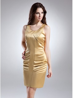 Sheath Scoop Neck Short/Mini Satin Cocktail Dress