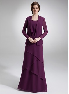 A-Line/Princess Scoop Neck Floor-Length Chiffon Mother of the Bride Dress With Beading