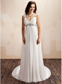 A-Line/Princess V-neck Court Train Chiffon Wedding Dress With Ruffle Beading