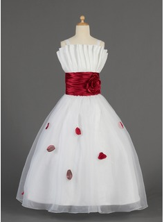 A-Line/Princess Scalloped Neck Floor-Length Organza Charmeuse Flower Girl Dress With Ruffle Sash Flower(s) Bow(s)