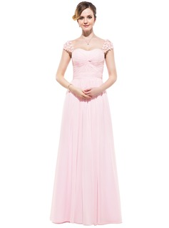 A-Line/Princess Sweetheart Floor-Length Chiffon Tulle Evening Dress With Ruffle Beading Flower(s)