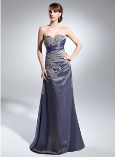 A-Line/Princess Sweetheart Floor-Length Taffeta Mother of the Bride Dress With Ruffle Lace