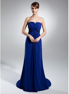 A-Line/Princess Strapless Court Train Chiffon Charmeuse Mother of the Bride Dress With Ruffle Sash