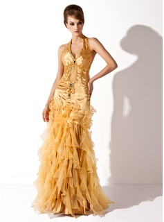 Mermaid Halter Floor-Length Organza Charmeuse Holiday Dress With Ruffle Beading (020025991)