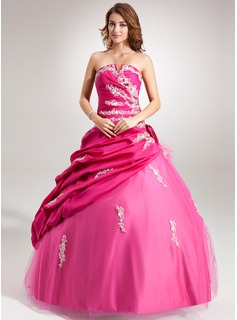 Ball-Gown Scalloped Neck Floor-Length Taffeta Tulle Quinceanera Dress With Ruffle Lace Beading Flower(s) Sequins