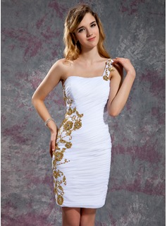 Sheath One-Shoulder Knee-Length Chiffon Homecoming Dress With Ruffle Beading Appliques Sequins (022010556)