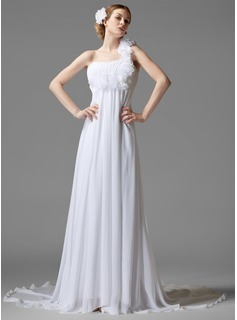 Empire One-Shoulder Chapel Train Chiffon Wedding Dress With Ruffle Flower(s)